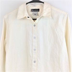 Columbia Womens Cream Striped Button Up Top Large